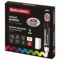 Купить меловой маркер BRAUBERG белый,цветной для чёрной таблички ценника,стекла в Москве